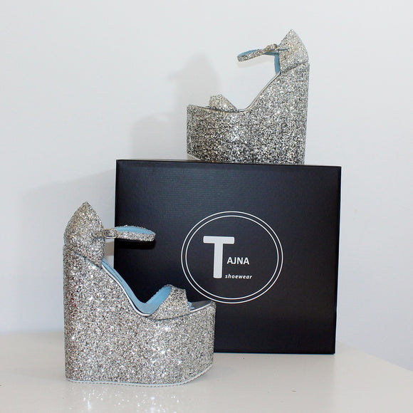 Silver Shimmer Platform Sandals High Heel Wedges - Tajna Club