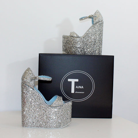 5af3fca251cc Silver Shimmer Platform Sandals High Heel Wedges – Tajna Club