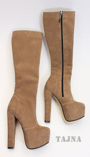 Cream Suede Mid Calf Boots - Tajna Club