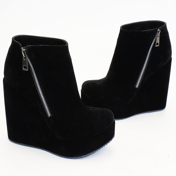 Black Suede Zipper Wedge Booties - Tajna Club