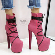 Pink Black Lace Up High Heel Platform Boots - Tajna Club