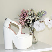 White Slit Peep Toe Platform Bridal Wedge Shoes - Tajna Club