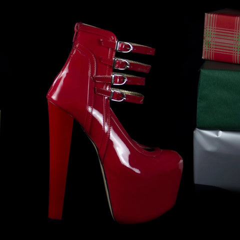 Red Patent Four Belted Booties - Tajna Club