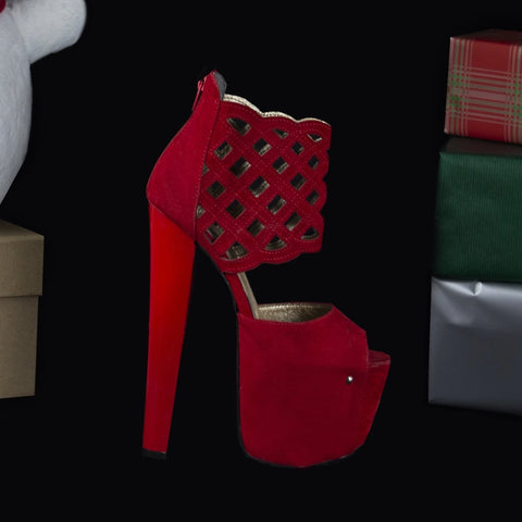 Red Suede Lazer Cut Platforms - Tajna Club
