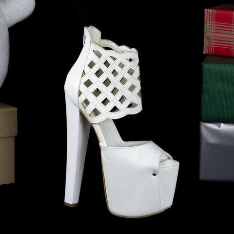 White Lazer Cut Platforms - Tajna Club