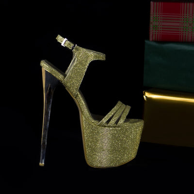 Golden Shine Cross Strap Platforms - Tajna Club