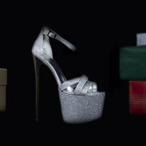 Silver Shine Cross Strap Platforms - Tajna Club