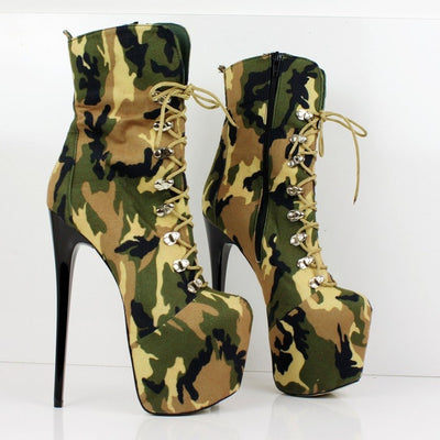 Camouflage Lace Up Platform Boots - Tajna Club