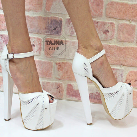Ankle Strap White Fillet 19 cm High Heel Platform Shoes - Tajna Club
