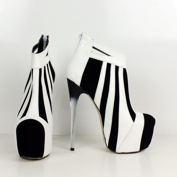 White Black Stripe Ankle Platforms - Tajna Club