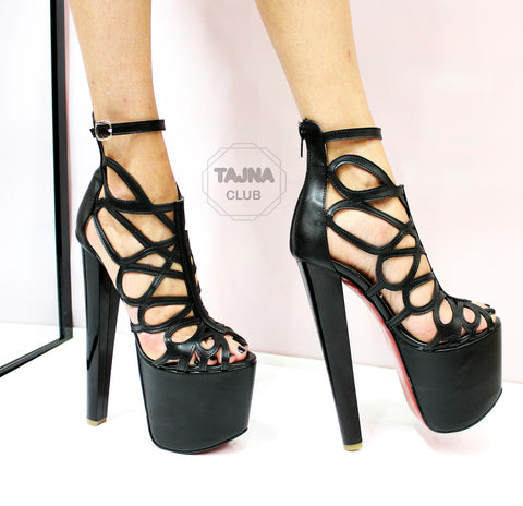 Black Lazer Cage High Heel Platforms - Tajna Club