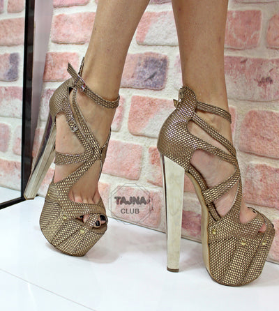 Golden Printed Leather 20 cm High Heel Platform Cage Shoes - Tajna Club