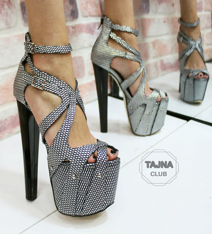 Silver Printed Leather 19 cm High Heel Platform Cage Shoes - Tajna Club