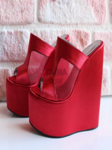 Red Satin Wedge Mules - Tajna Club