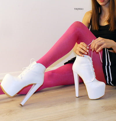 Lace Up White High Heel Platform Ankle Booties - Tajna Club