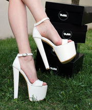 Ankle Strap White Patent 19 cm High Heel Platform Shoes - Tajna Club