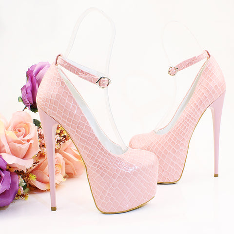 Light Pink Croco Patent Leather Platform Shoes - Tajna Club