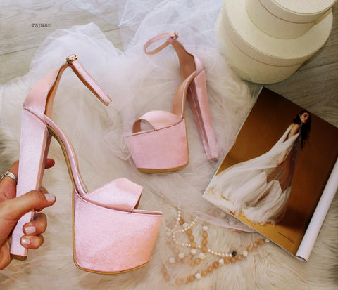 Light Pink Satin Bridal Platform Shoes - Tajna Club