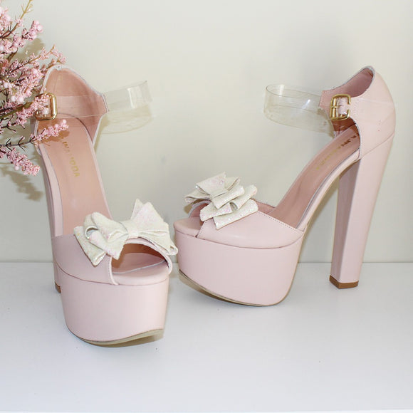 Ribbon Light Pink Satin Bridal Platform Shoes - Tajna Club