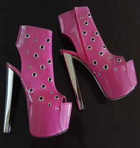 Pink Metal Punch Peep-Toe High Heel Booties - Tajna Club