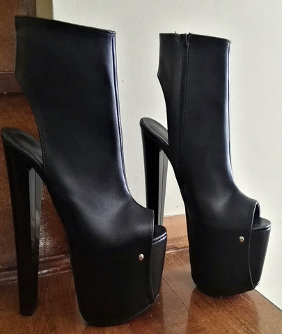Black Peep Toe 19 cm Open Back Booties - Tajna Club