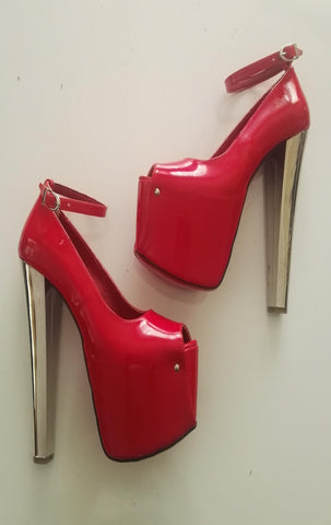 Red Patent Leather Ankle Strap High Heel Platforms - Tajna Club