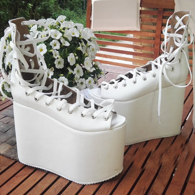 White Balerina Lace Up Wedge Platform Shoes - Tajna Club