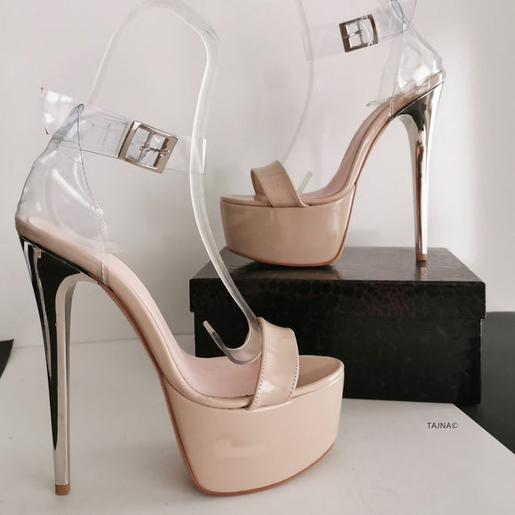 Nude Transparent Ankle Strap Sandals - Tajna Club
