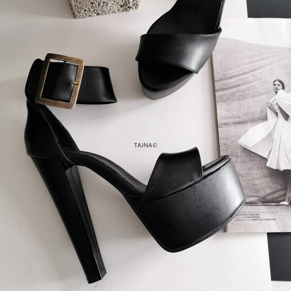 Black Matte Ankle Strap Platform Sandals - Tajna Club
