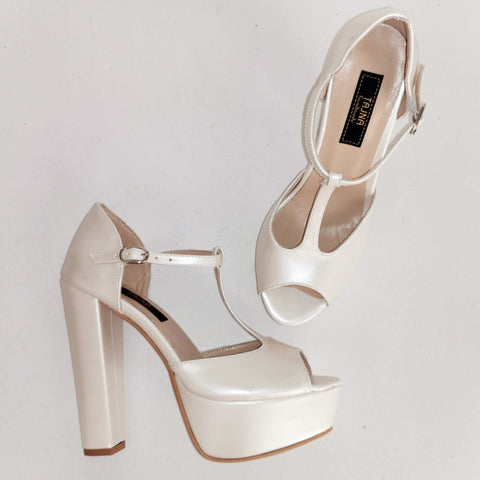 Ivory Thick Heel Platform Wedding Shoes - Tajna Club