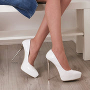 14 cm Platform Stiletto White Patent - Tajna Club