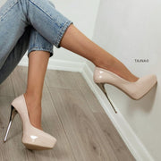 14 cm Platform Stiletto Cream Nude Patent - Tajna Club