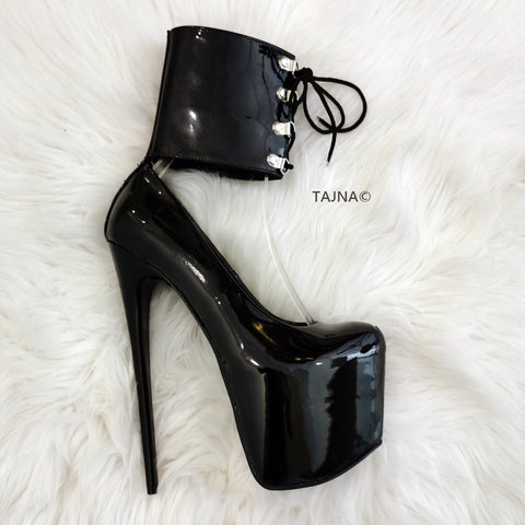 Ankle Cuff Black Patent Pumps - Tajna Club