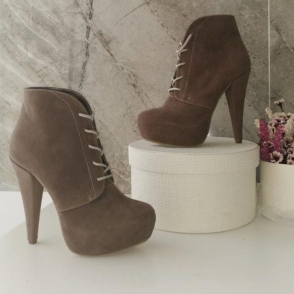 Beige Lace Up Platform Ankle Booties - Tajna Club