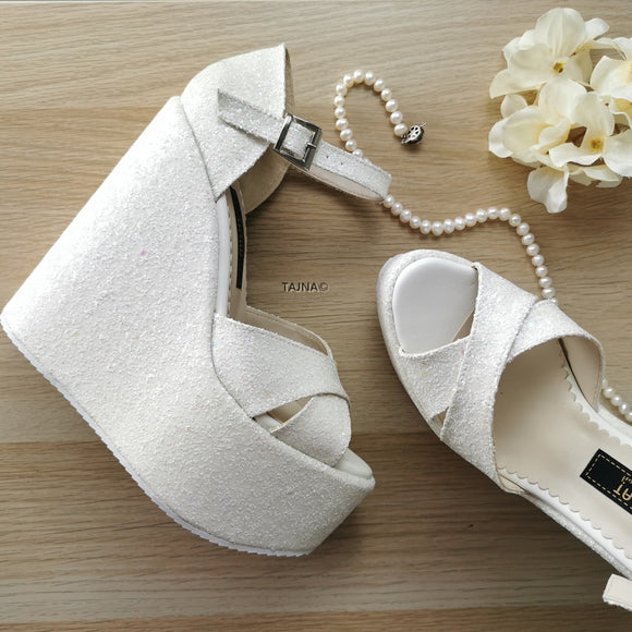 White Shiny Bridal Wedges - Tajna Club