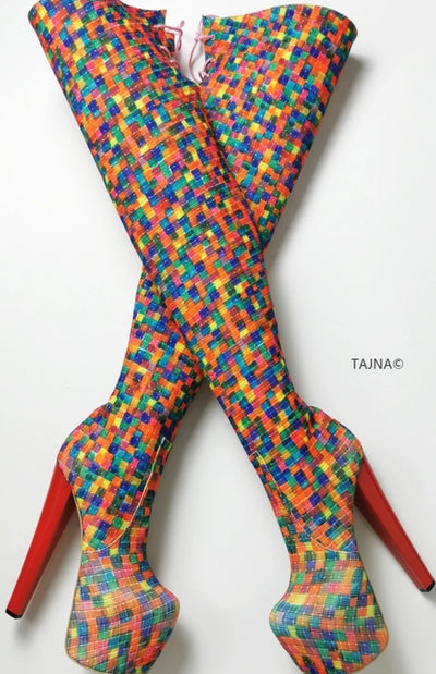Multi Colour Knee High Platform Boots - Tajna Club
