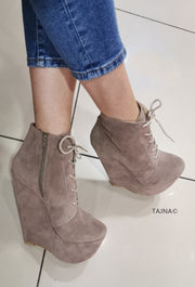 Beige Suede Lace Up Ankle Wedge Booties - Tajna Club