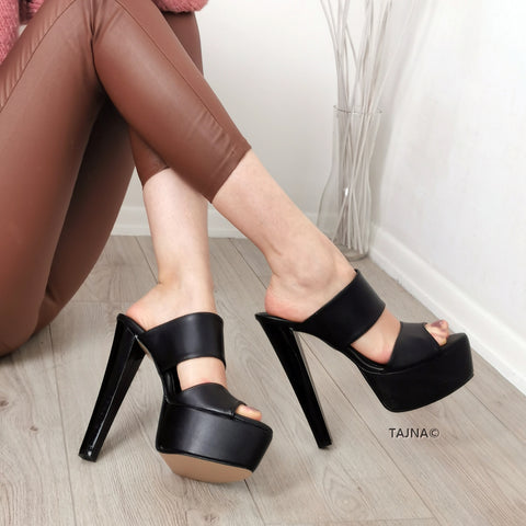 Double Strap Black Matte Mules - Tajna Club