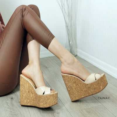 Cream Patent Wedge Cork Mules - Tajna Club
