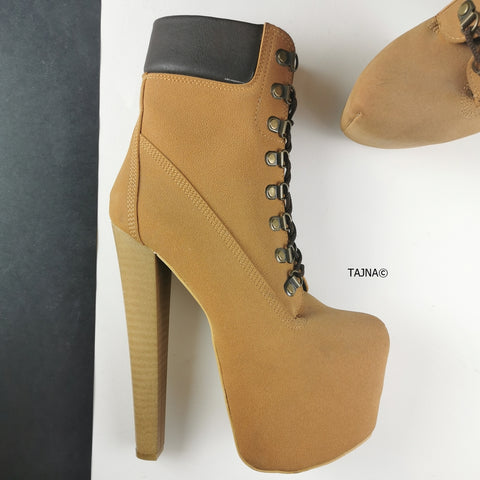 Timber Lace Up High Heel Boots - Tajna Club