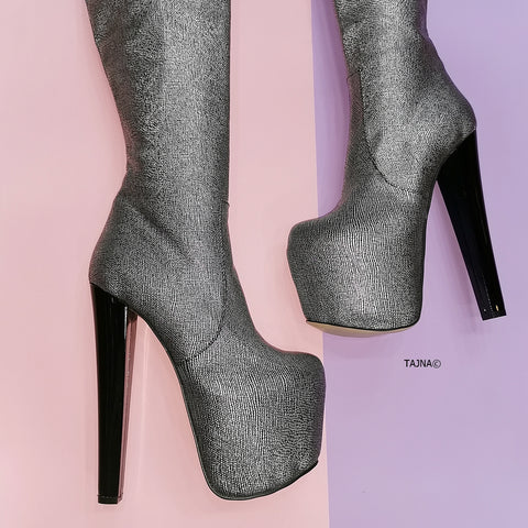 Silver Metallic Gray Knee High Boots - Tajna Club