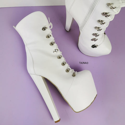 White Lace Up Chunky Heels Boots - Tajna Club