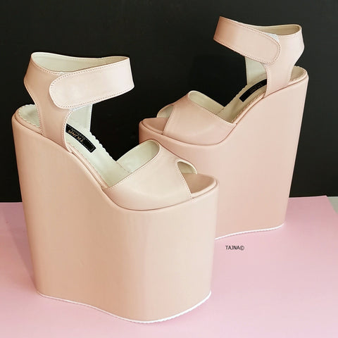 Powder Soft Pink High Heel Wedges Ankle Strap - Tajna Club