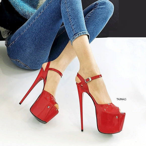 Red Patent Platform Sandals - Tajna Club