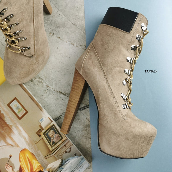 Timber Style Lace Up Heel Boots