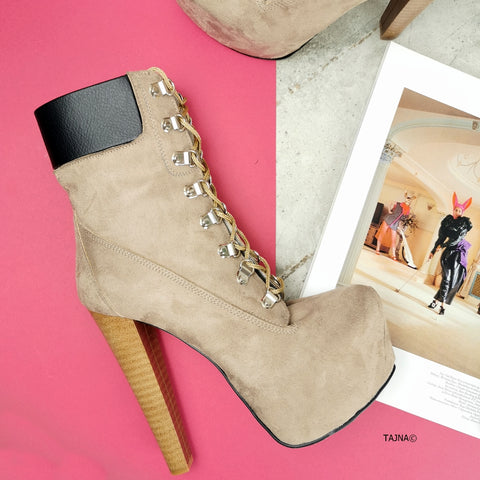 Timber Lace Up Heel Boots - Tajna Club