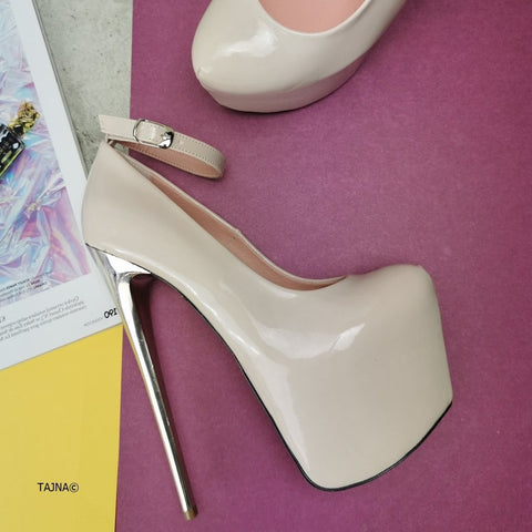 Beige Patent Metallic Heel Pumps - Tajna Club