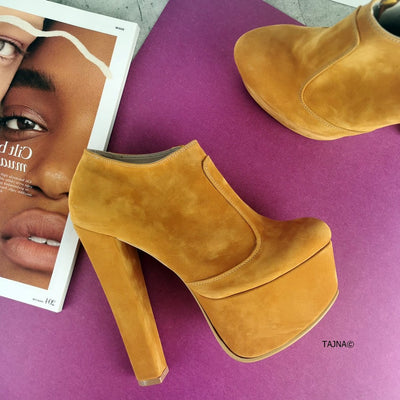Dark Yellow Chunk Heel Ankl Booties - Tajna Club