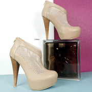Beige Nude Fishnet Ankle Platforms - Tajna Club
