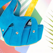 Blue Suede Cage High Heel Platforms - Tajna Club
